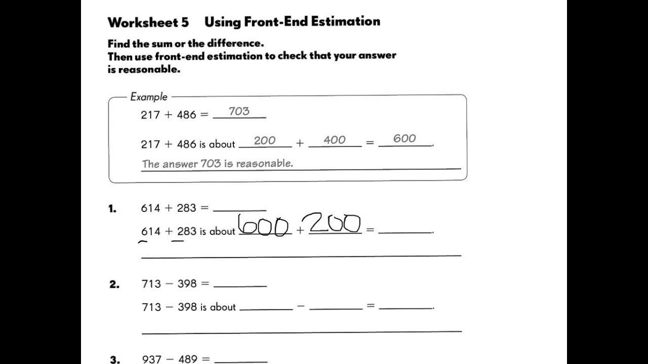 Compatible Numbers Division Worksheets Front End Estimation and Patible Numbers solutions
