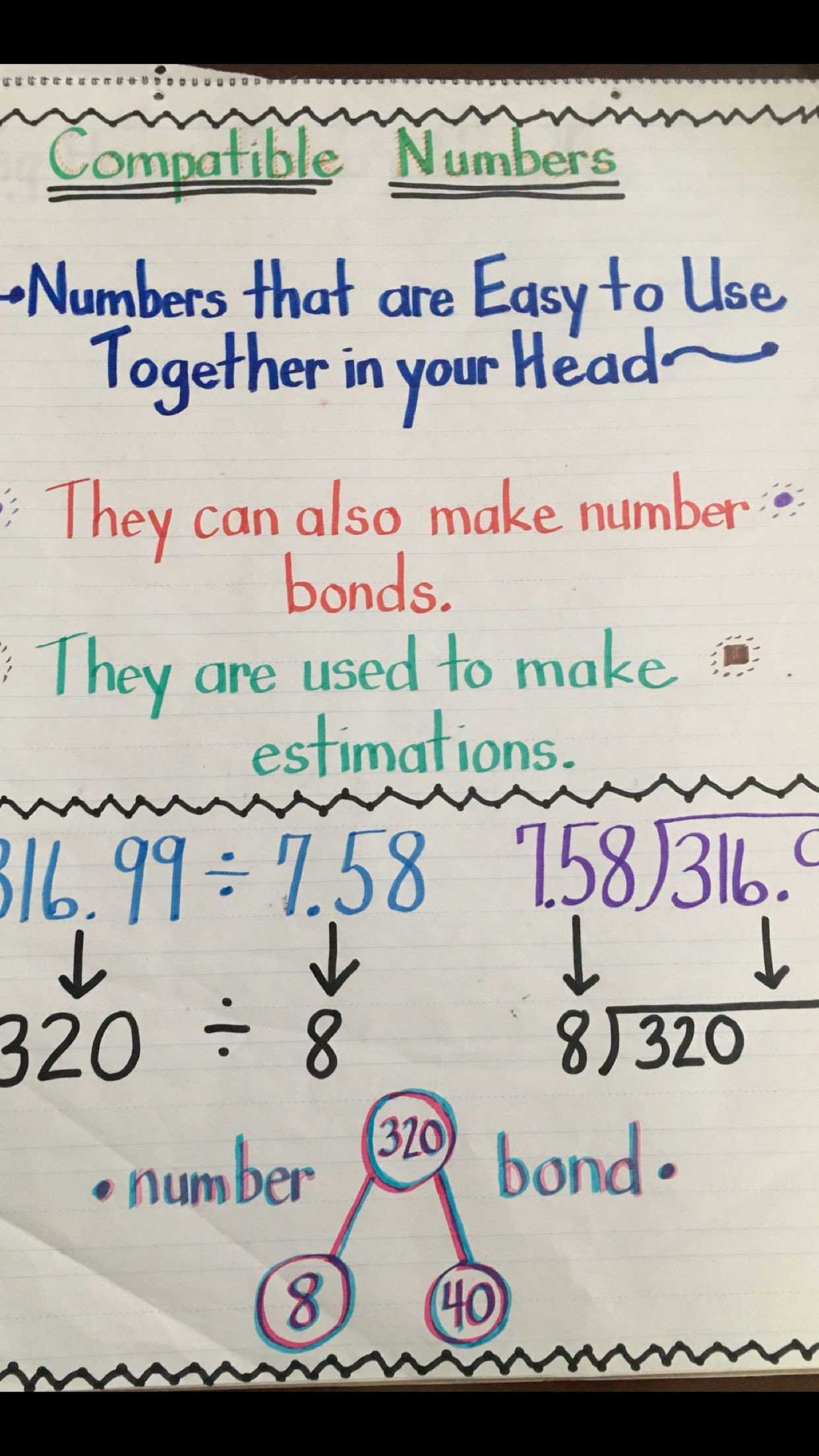 Compatible Numbers Division Worksheets Patible Numbers Anchor Chart