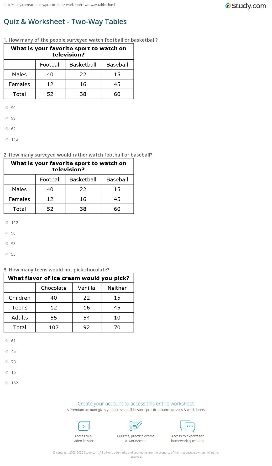 quiz worksheet two way tables