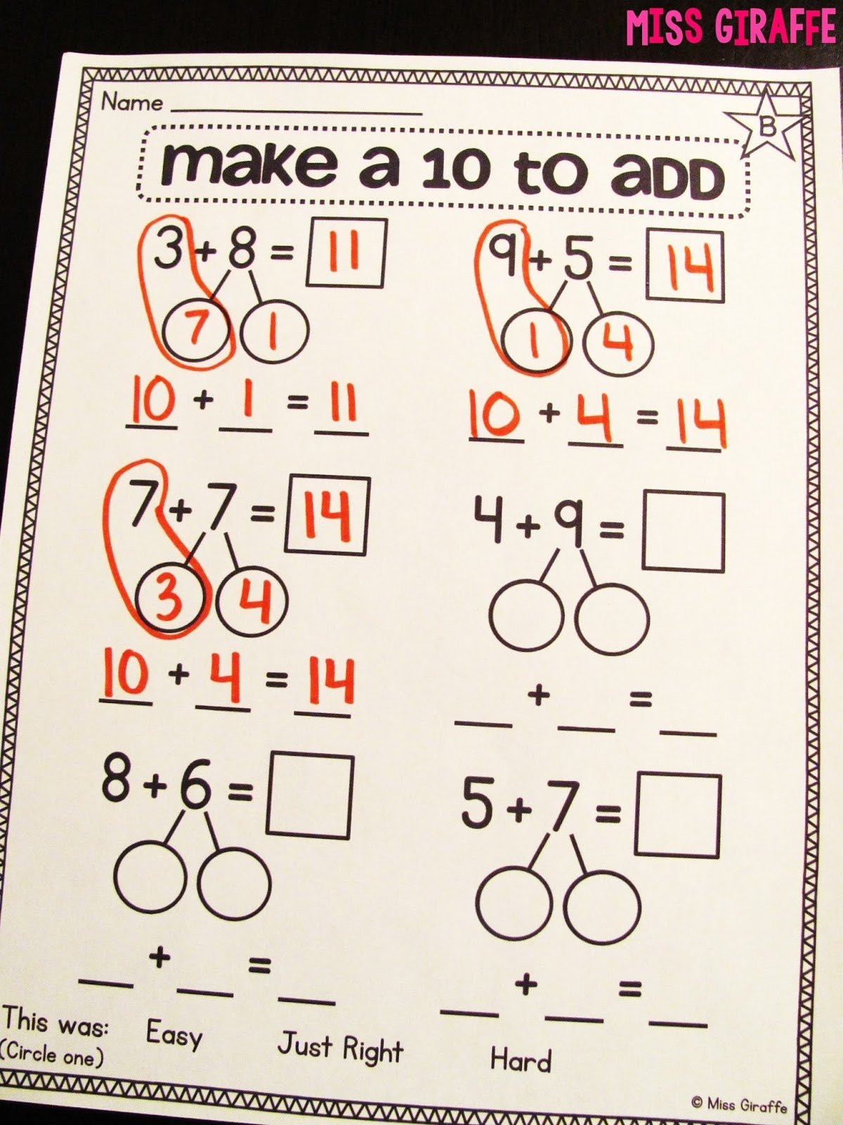 Decomposing Numbers to 10 Worksheets Miss Giraffe S Class Making A 10 to Add