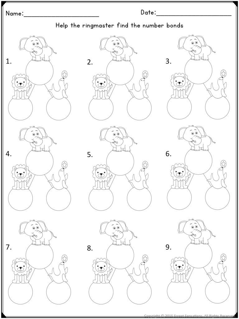 Decomposing Numbers to 10 Worksheets Teaching Posing and De Posing Numbers to Kindergarten
