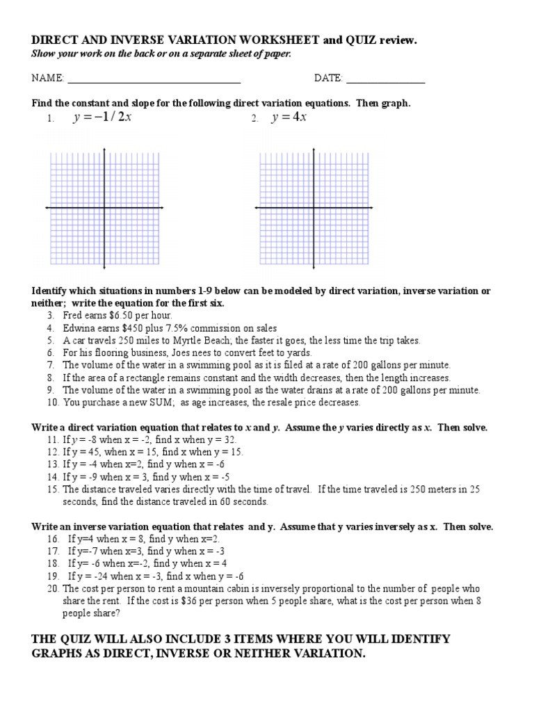 Direct Variation Table Worksheet Direct and Inverse Variation Worksheet Pdf Nidecmege