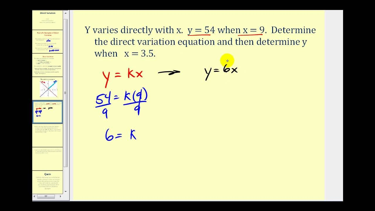 Direct Variation Table Worksheet Direct Variation Videos Worksheets Examples solutions