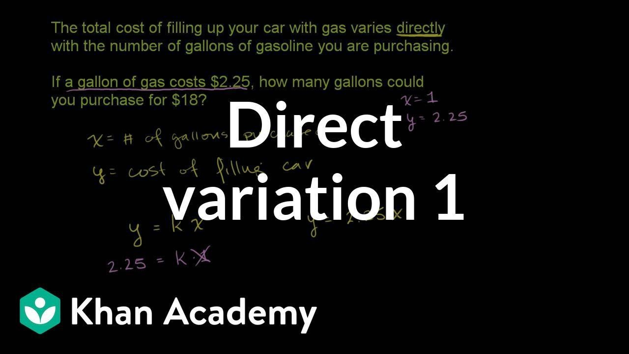 Direct Variation Table Worksheet Direct Variation Word Problem Filling Gas Video