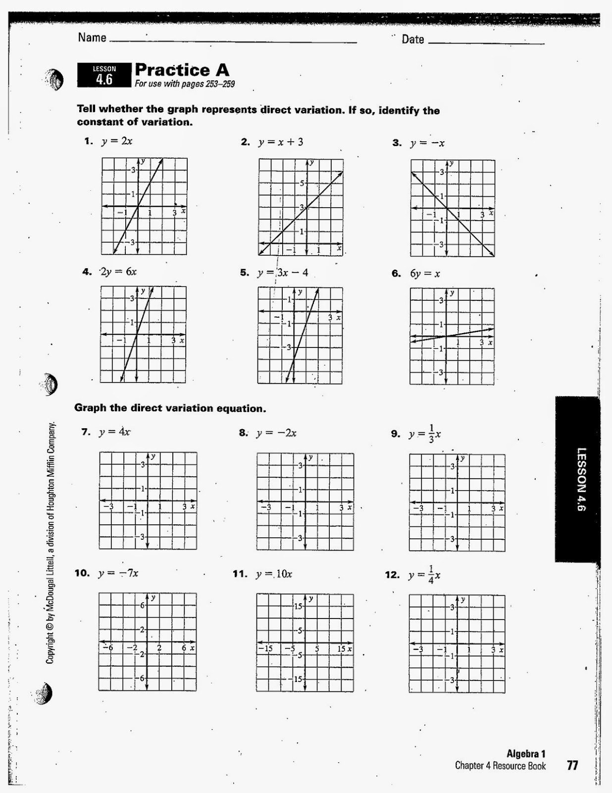 Direct Variation Table Worksheet Direct Variation Worksheet Answers
