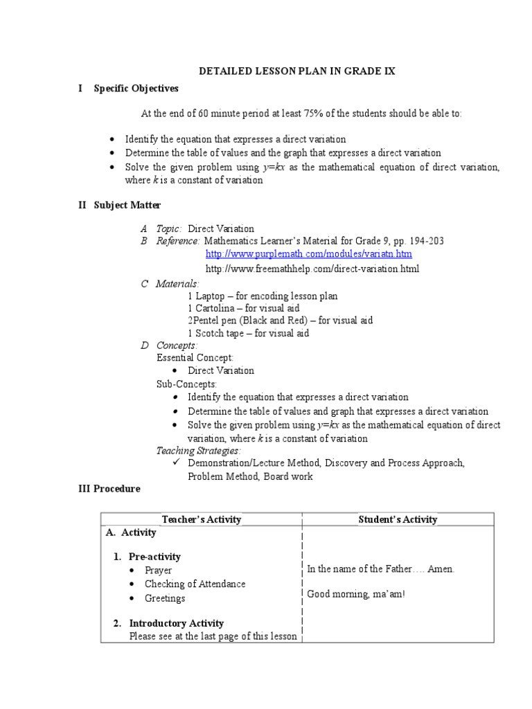 Direct Variation Table Worksheet Dlp Direct Variation Physics & Mathematics