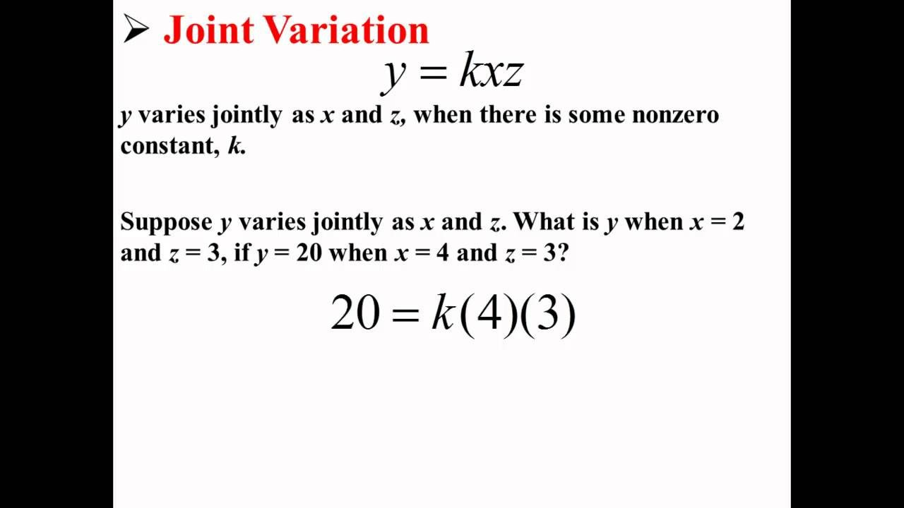 Direct Variation Table Worksheet Joint or Bined Variation solutions Examples Videos