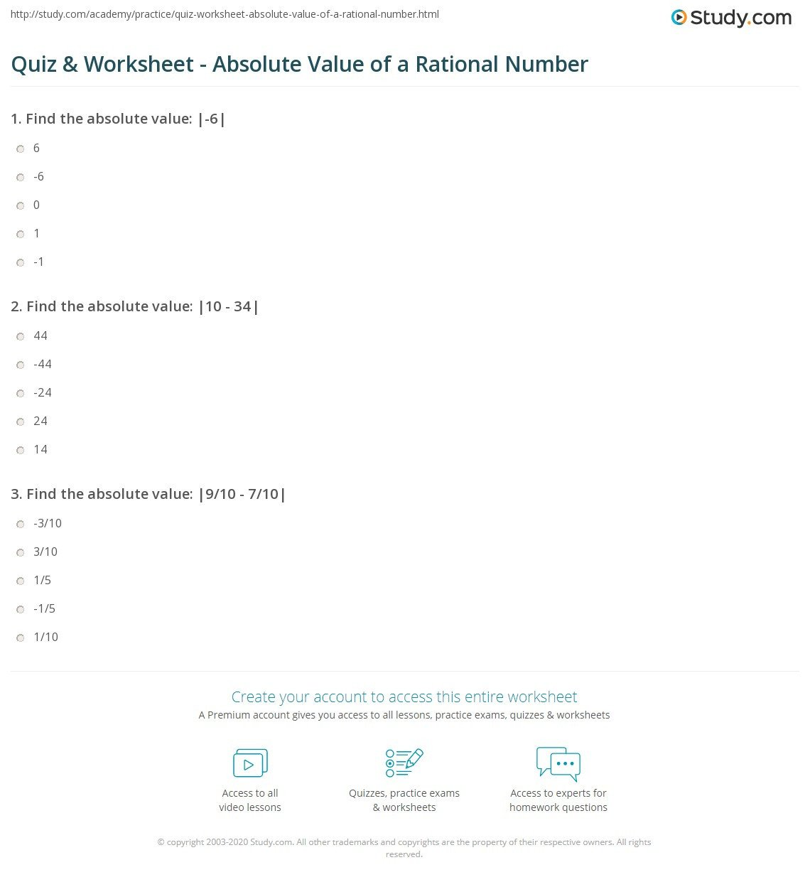Equations with Rational Numbers Worksheet Quiz & Worksheet Absolute Value Of A Rational Number