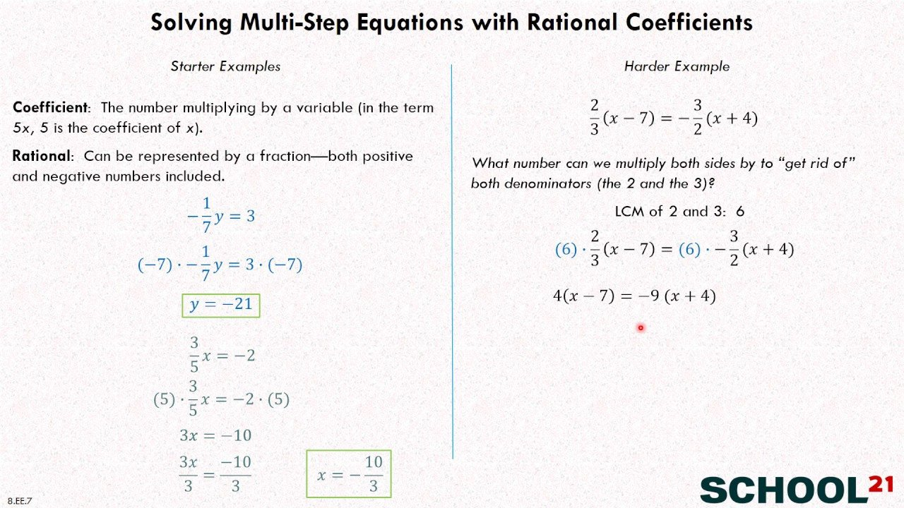 Equations with Rational Numbers Worksheet solve Equations Grade 8 Examples solutions Videos