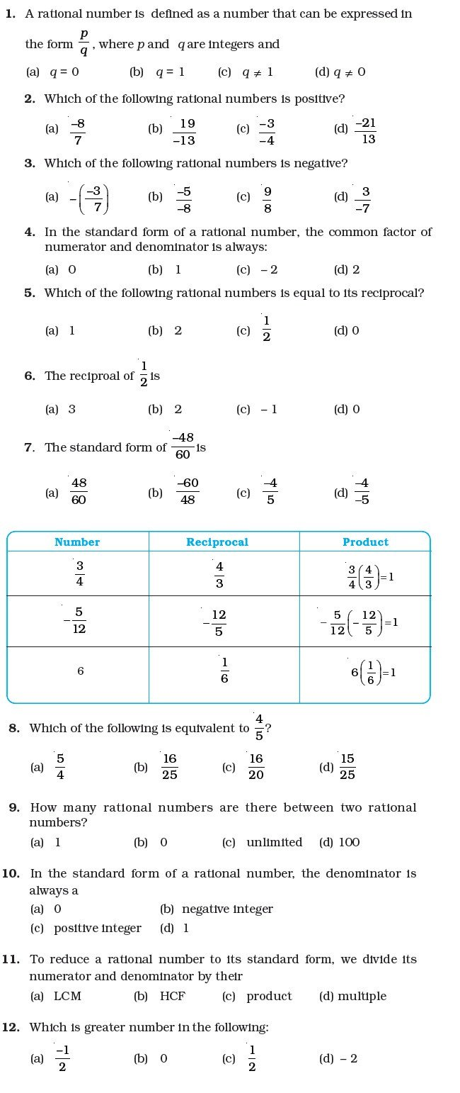 Equations with Rational Numbers Worksheet Worksheet Number System for Class 7