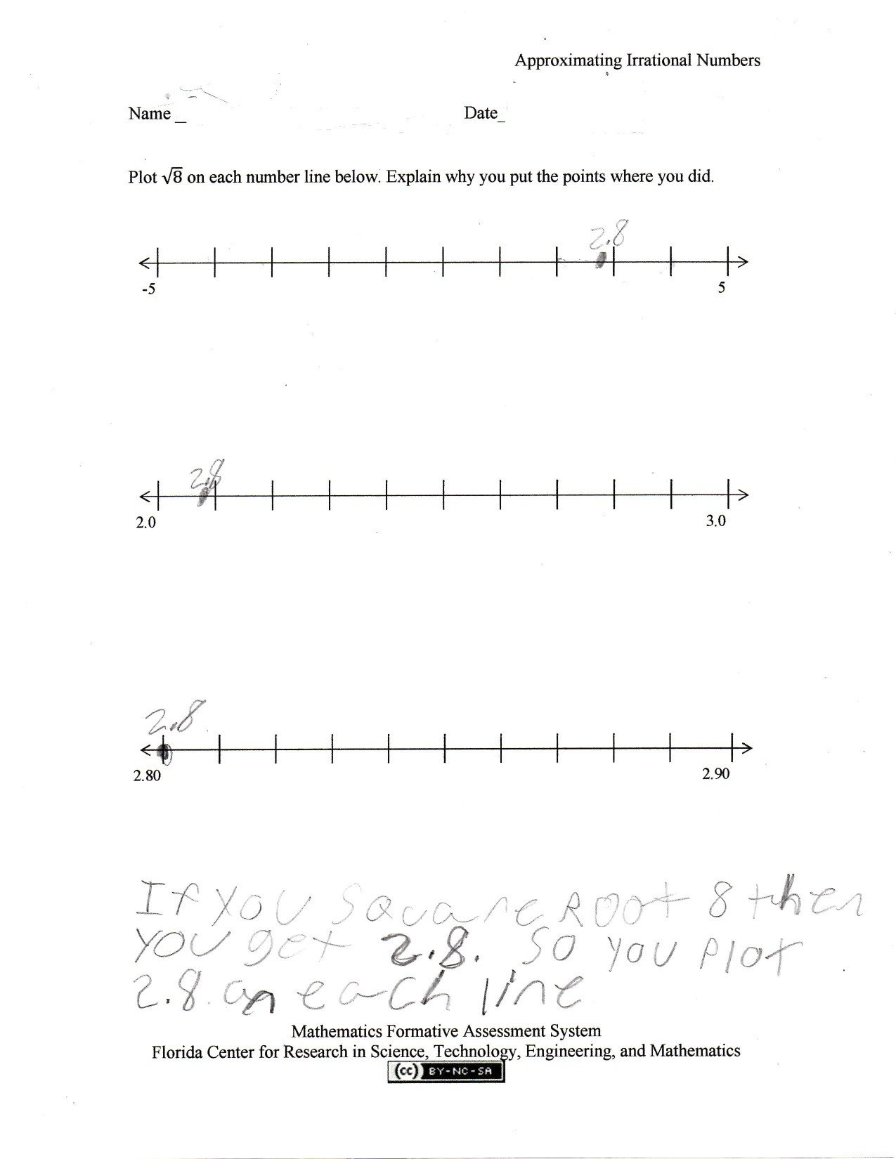 Estimating Irrational Numbers Worksheet Estimating Square Roots Worksheets