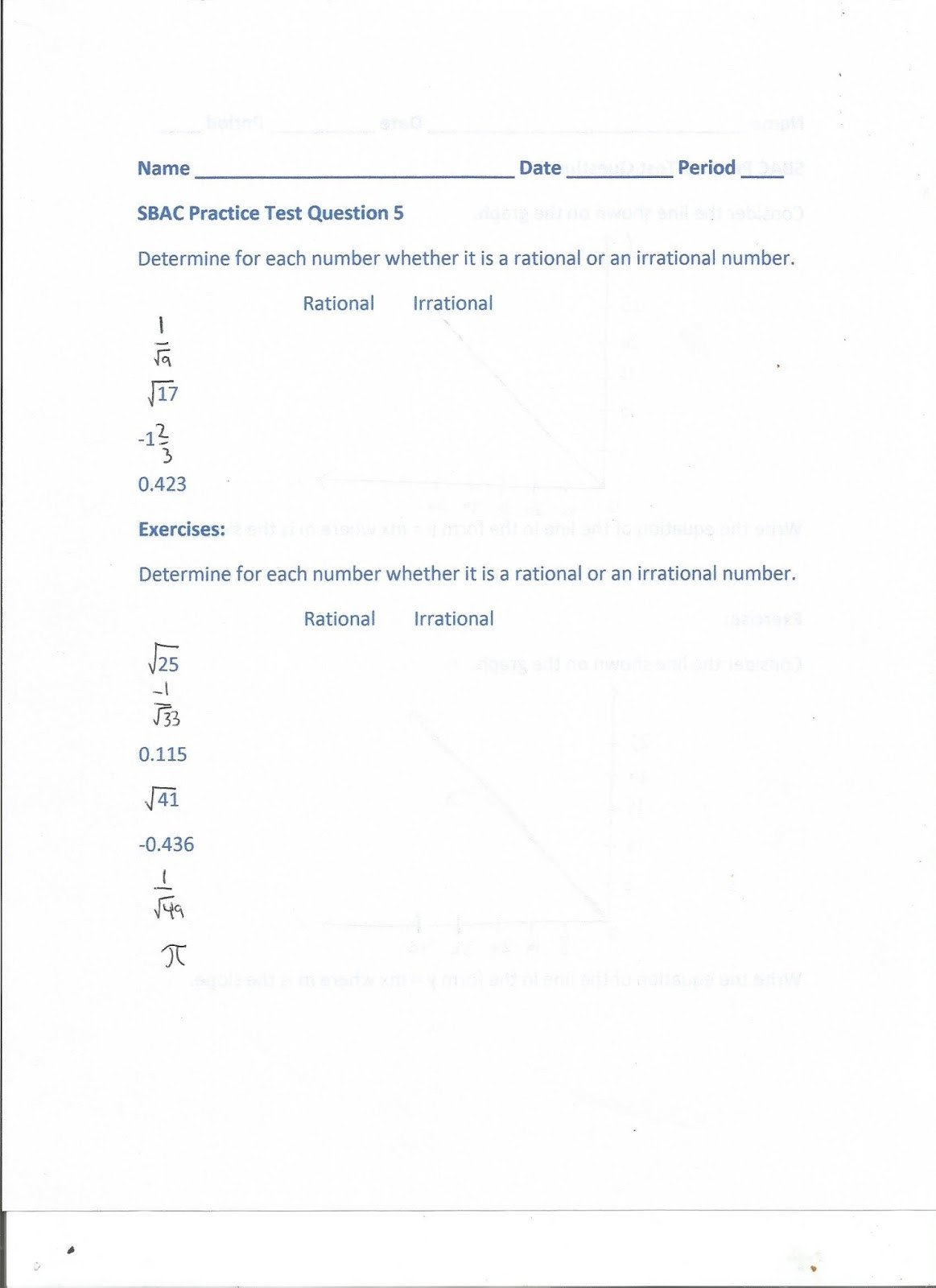 Estimating Irrational Numbers Worksheet Geometry Mon Core Style May 2017