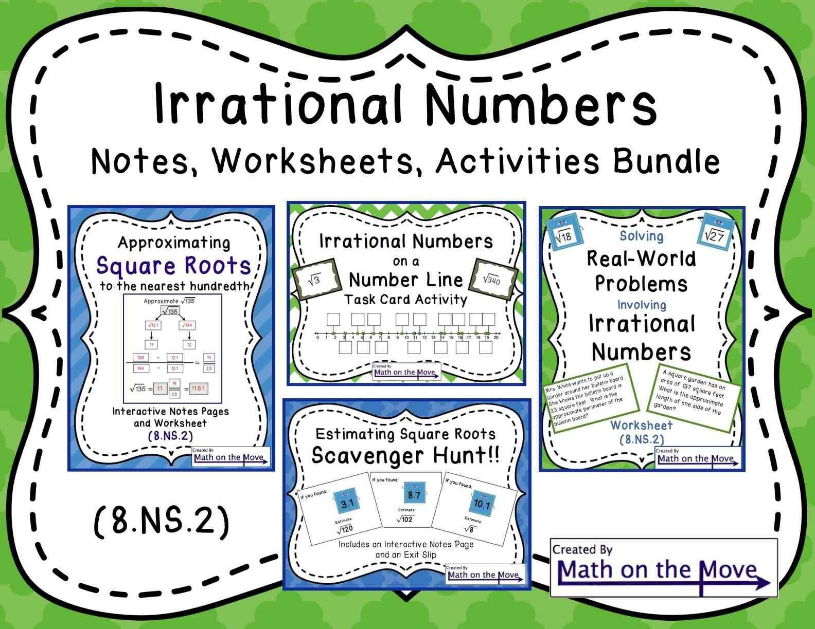 Estimating Irrational Numbers Worksheet Interactive Notes Worksheets and Activities Involving