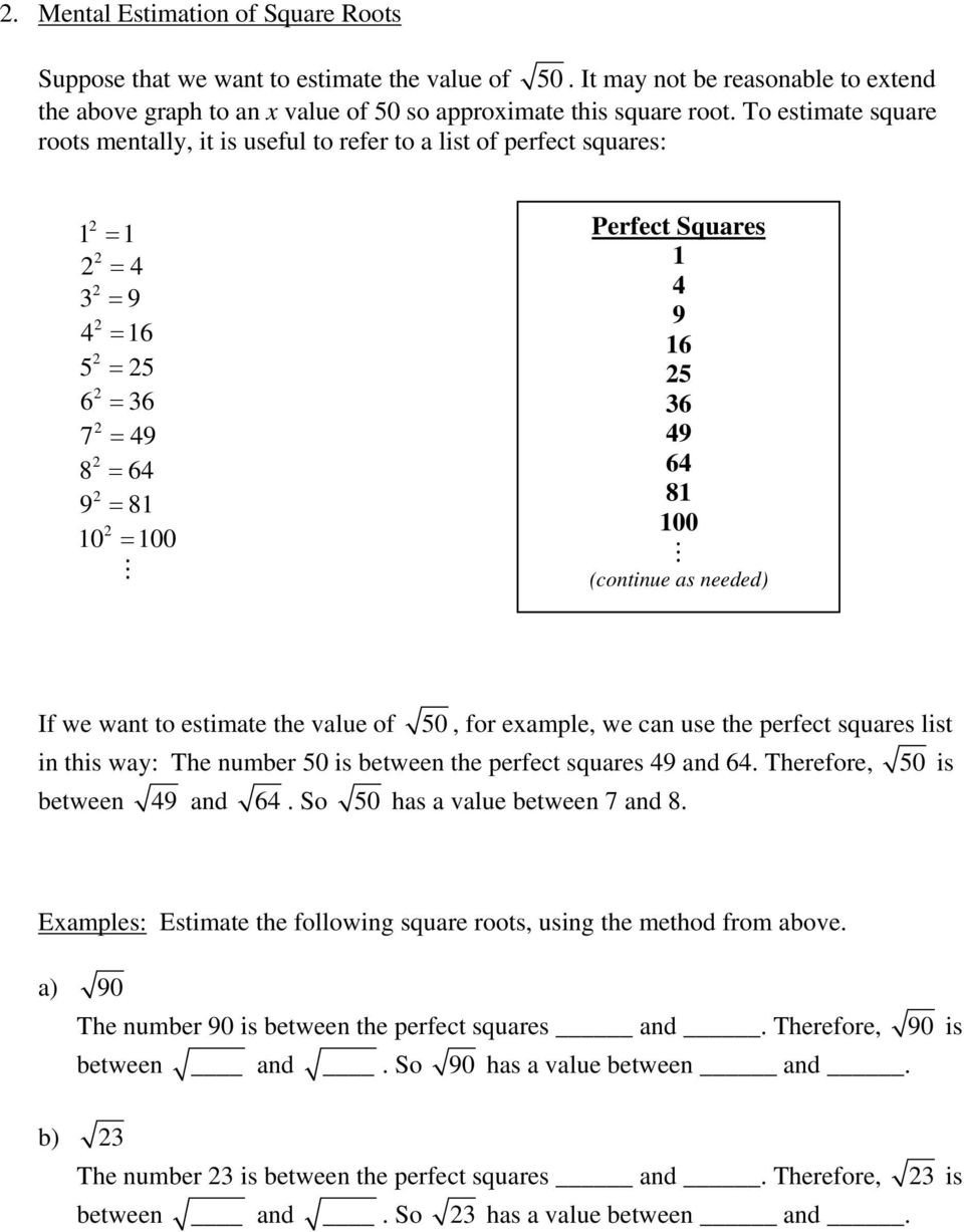 Estimating Irrational Numbers Worksheet Irrational Numbers A Rational Numbers 1 before We Discuss