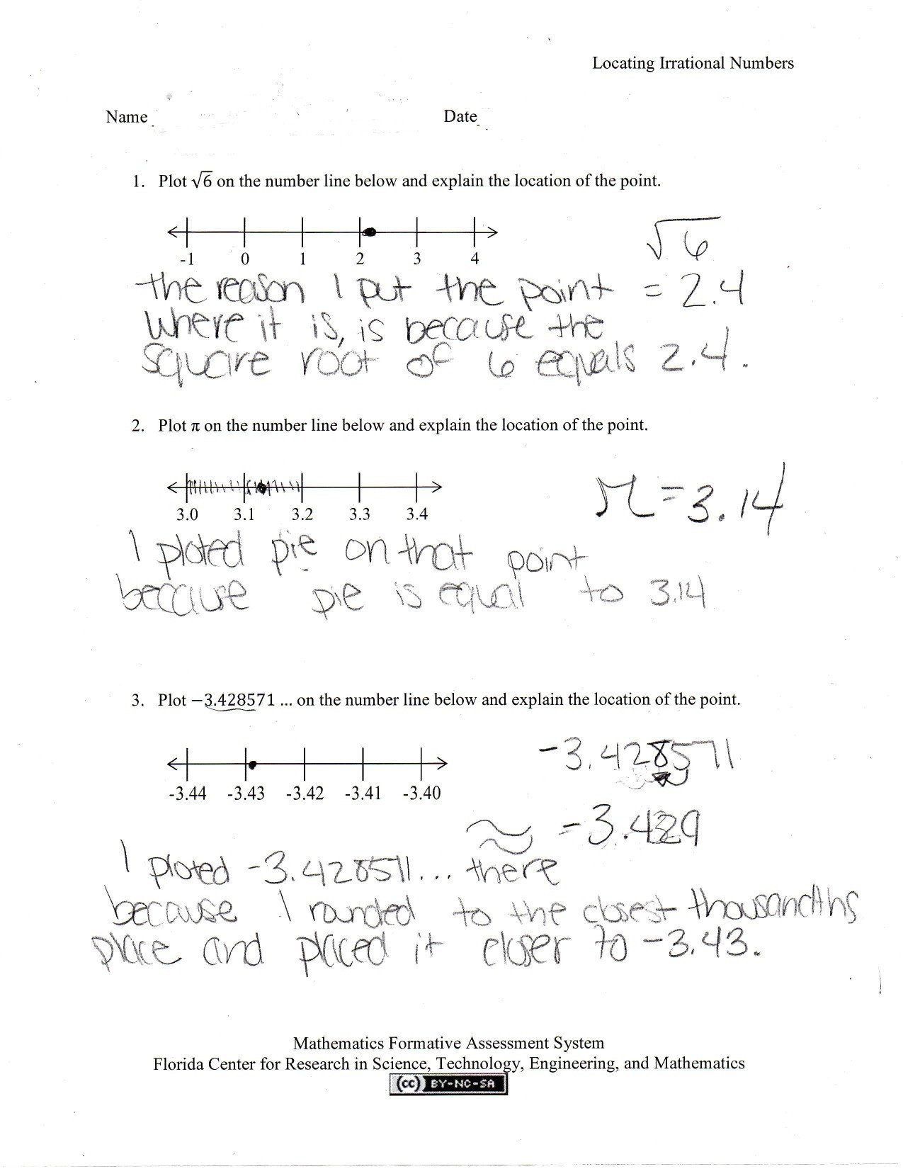 Estimating Irrational Numbers Worksheet Locating Irrational Numbers Students are asked to Graph