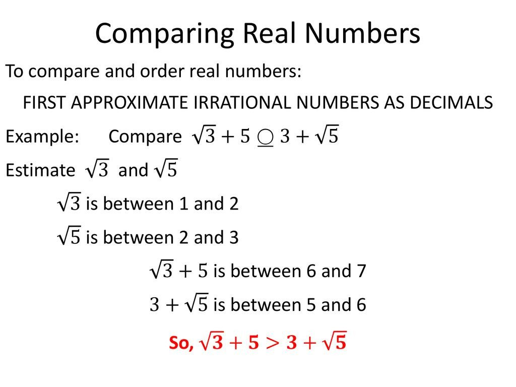 Estimating Irrational Numbers Worksheet ordering Real Numbers 8 Ns Ppt