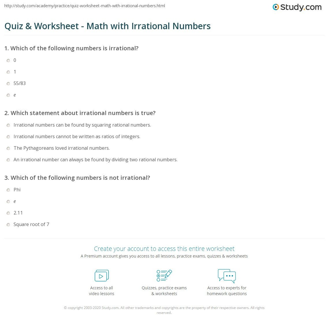 Estimating Irrational Numbers Worksheet Rational and Irrational Numbers Worksheet