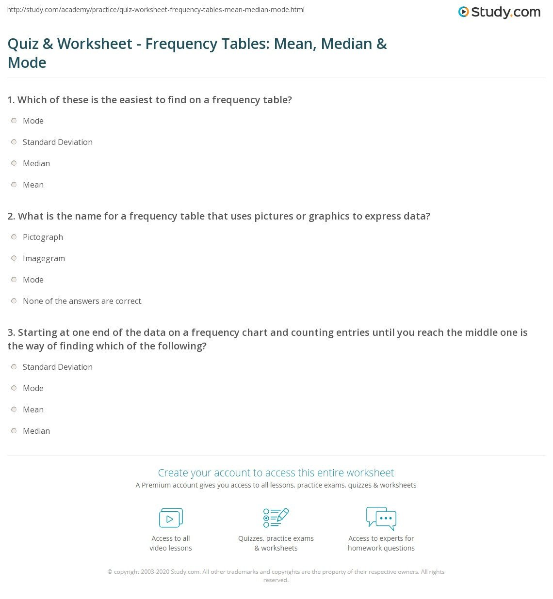 quiz worksheet frequency tables mean median mode