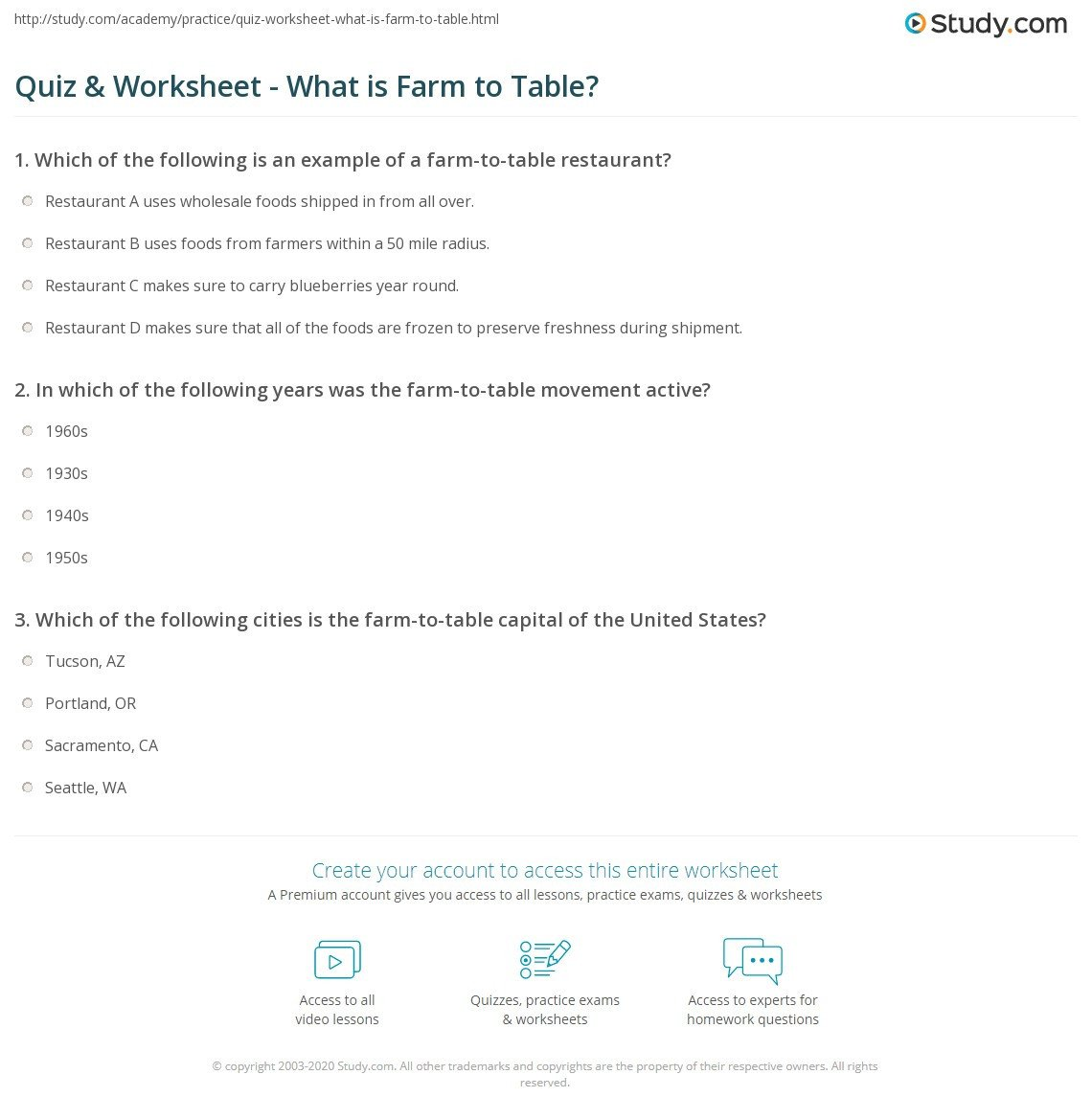 From Farm to Table Worksheets Quiz & Worksheet What is Farm to Table