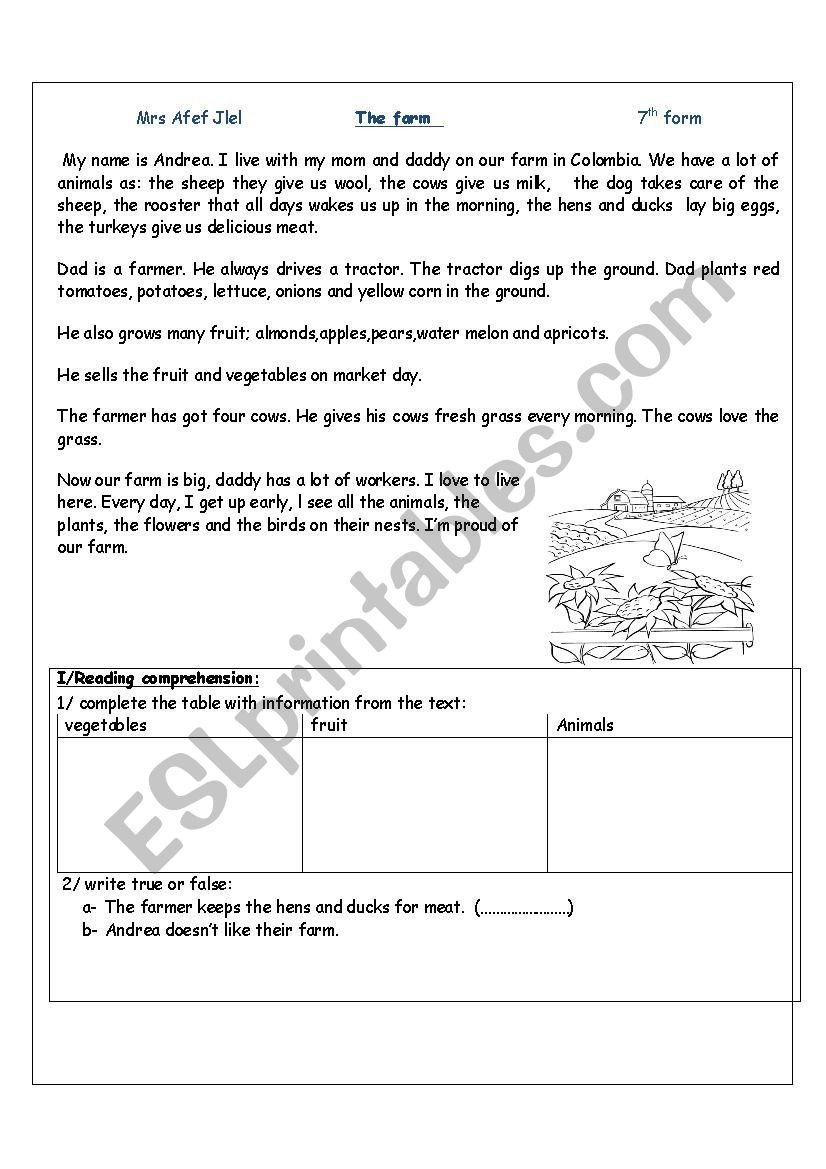 From Farm to Table Worksheets the Farm Esl Worksheet by Pink Flower