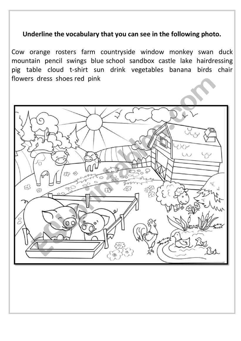 From Farm to Table Worksheets Vocabulary Farm Esl Worksheet by Albaagarciaa