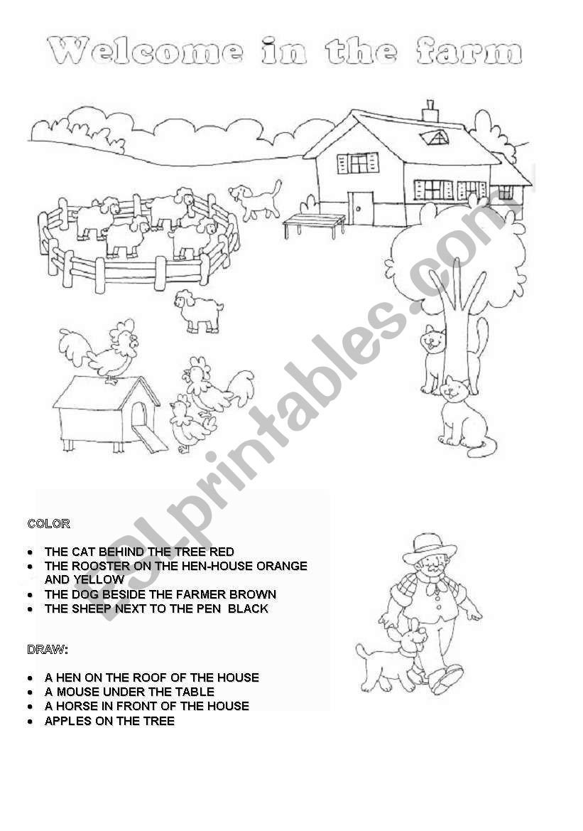 From Farm to Table Worksheets Wel E In the Farm Esl Worksheet by Gioppi