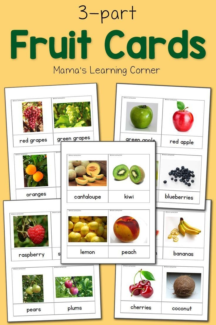 Fruits and Vegetables sorting Worksheet Fruit 3 Part Cards
