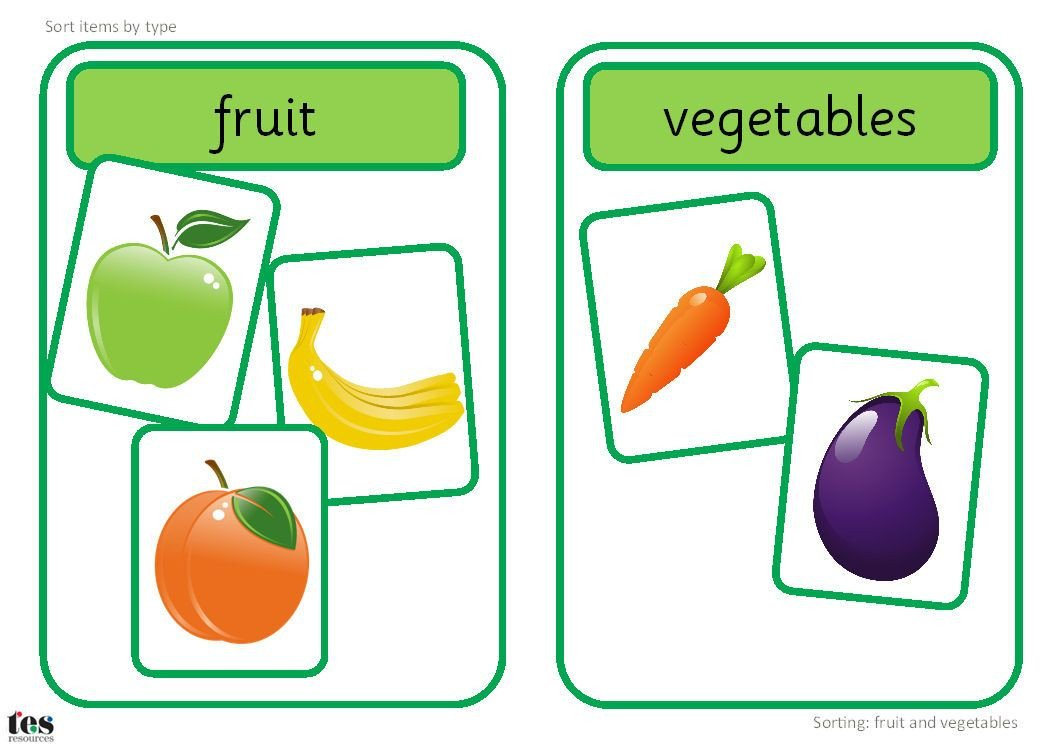 Fruits and Vegetables sorting Worksheet Fruit and Ve Able sorting Activity Resources Tes