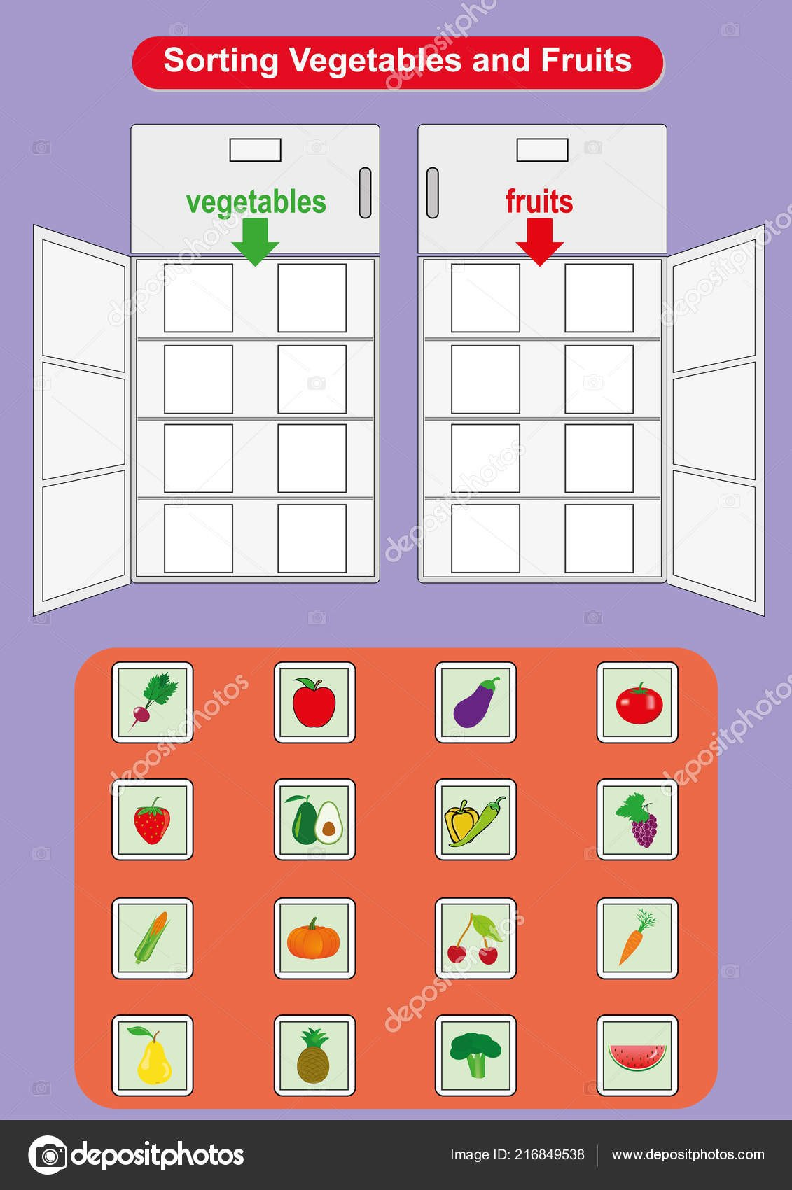 Fruits and Vegetables sorting Worksheet Fruit sorting Worksheet