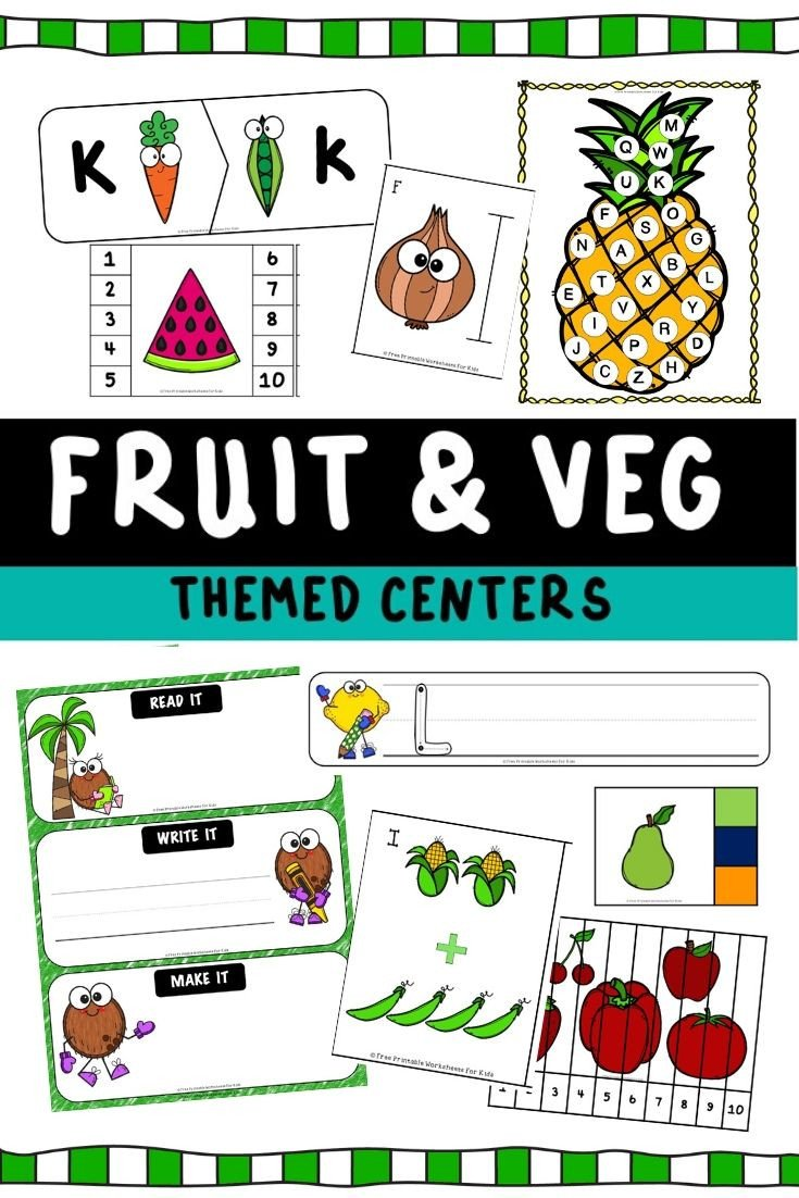 Fruits and Vegetables sorting Worksheet Fruits and Ve Ables themed Literacy and Math Centers
