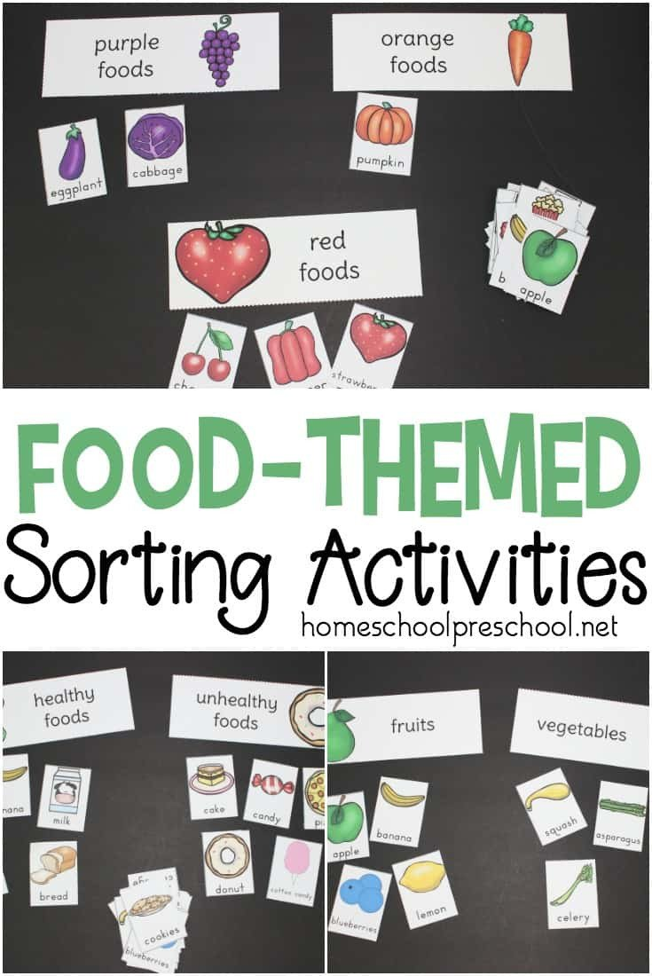 Fruits and Vegetables sorting Worksheet Printable Preschool Food theme sorting Activities