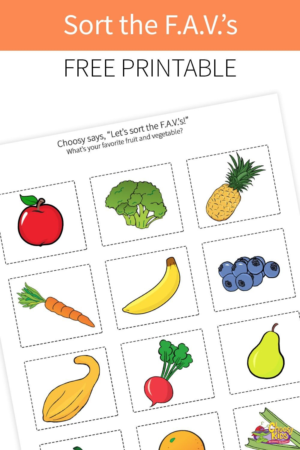 Fruits and Vegetables sorting Worksheet sort the F A V S