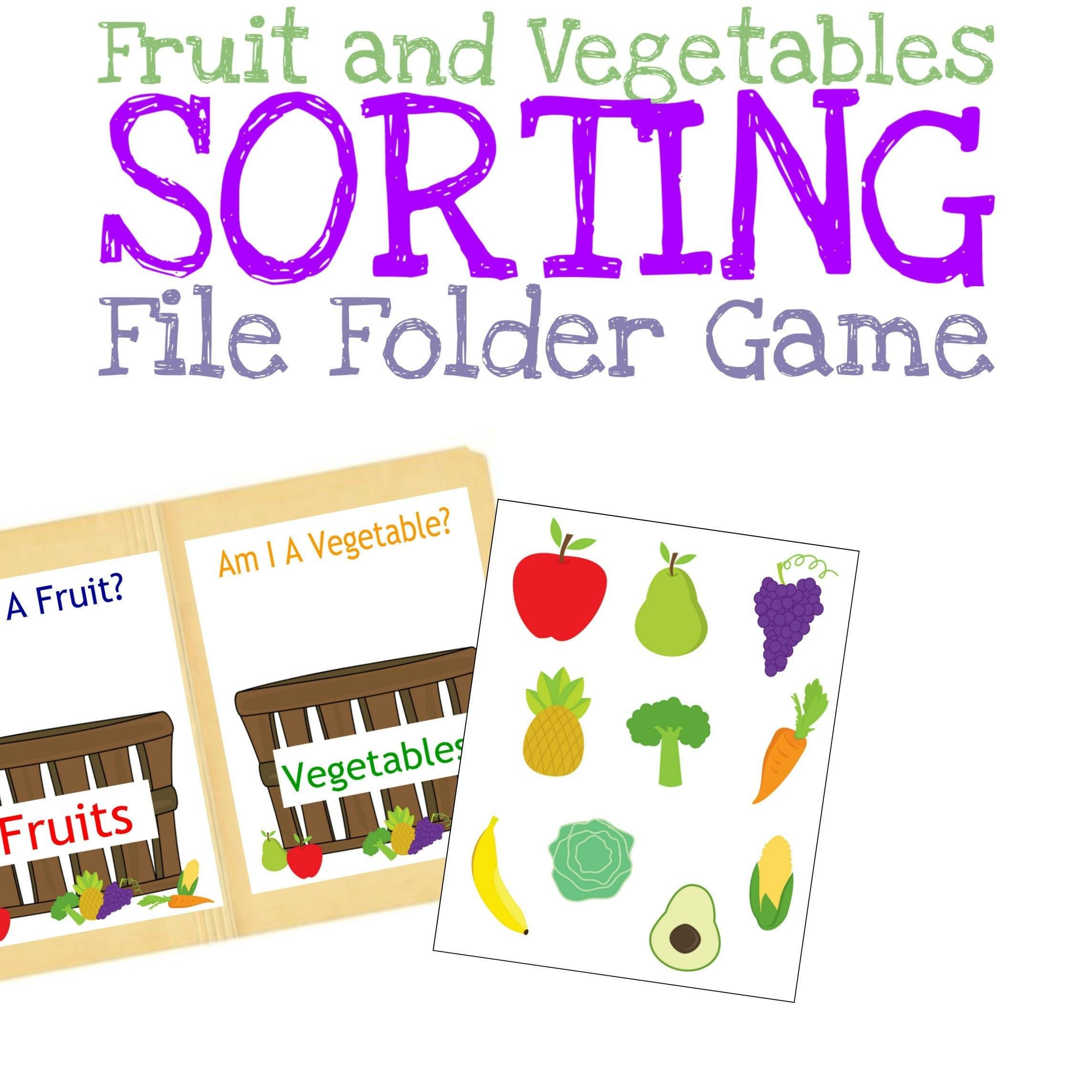 Fruits and Vegetables sorting Worksheet sorting Fruits and Ve Ables File Folder Game Preschool
