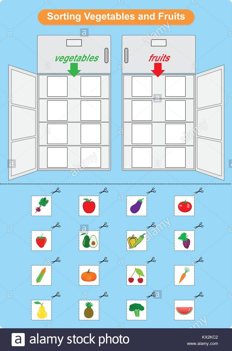 sorting fruits and ve ables in refrigerator worksheet for kindergarten KX2KC2