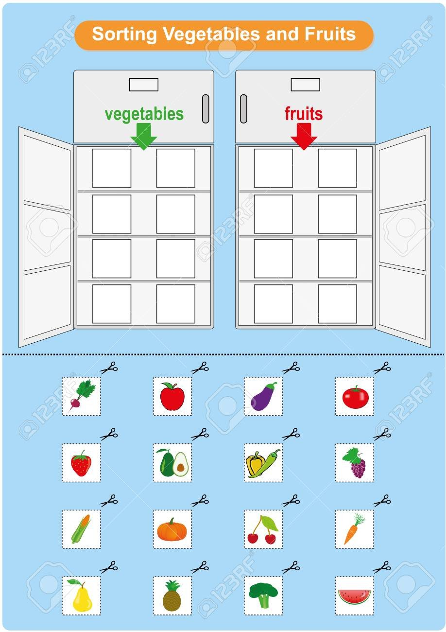 photo stock vector sorting fruits and ve ables inrefrigerator worksheet for kindergarten preschool