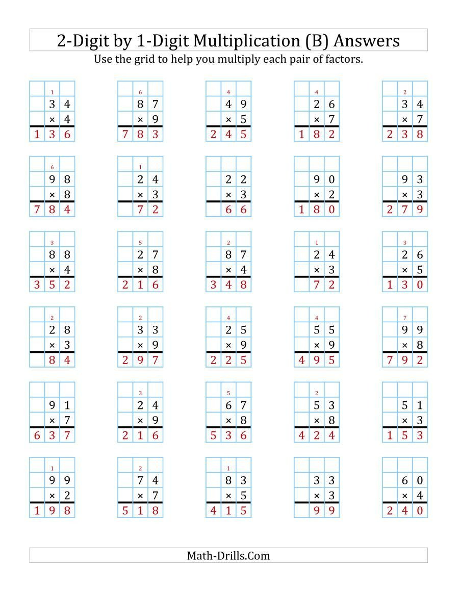 Function Table Worksheets Pdf the 2 Digit by 1 Digit Multiplication with Grid Support B