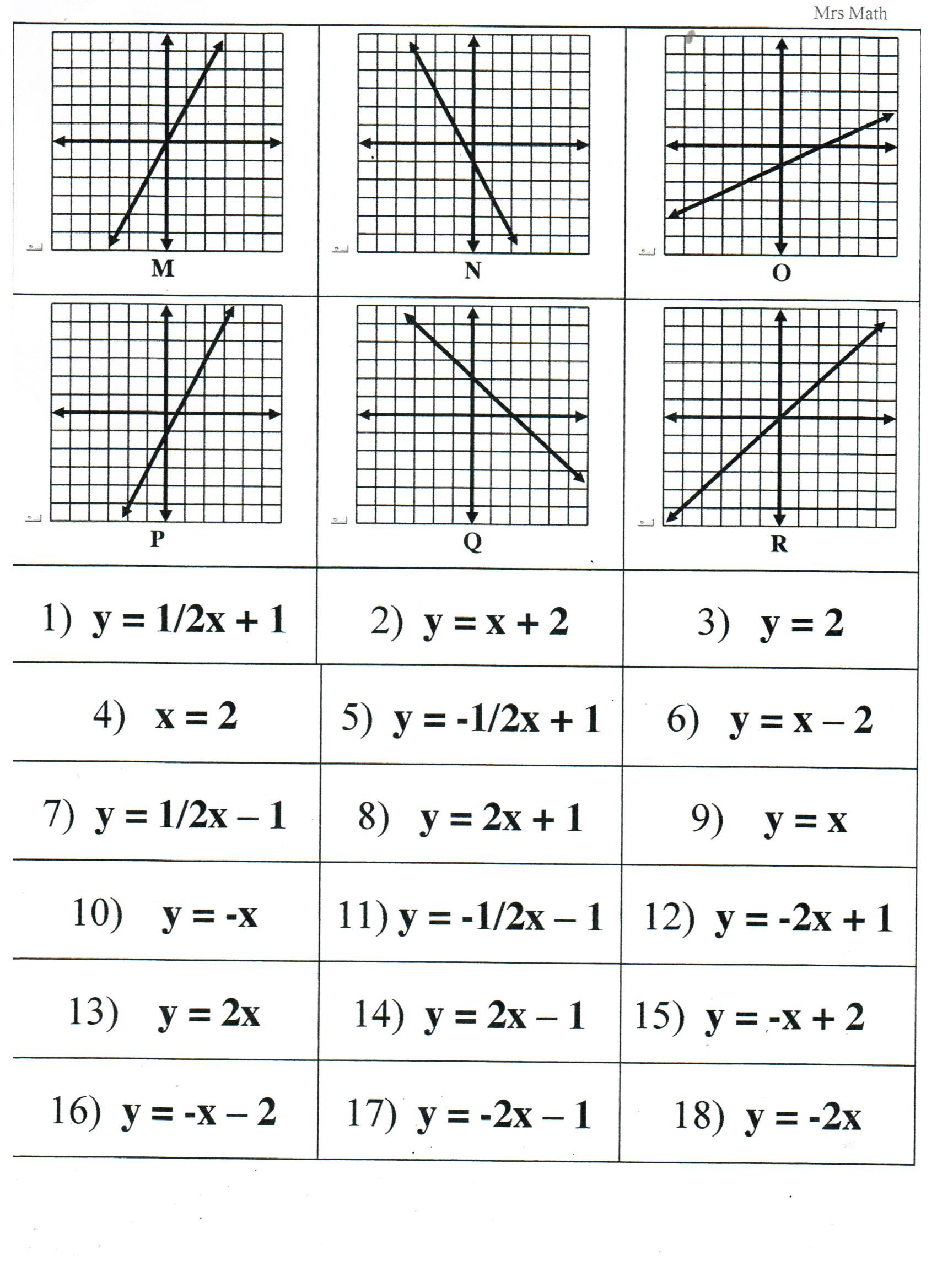 Graphing Using A Table Worksheet Matching Equations Tables and Graphs Key Tessshebaylo