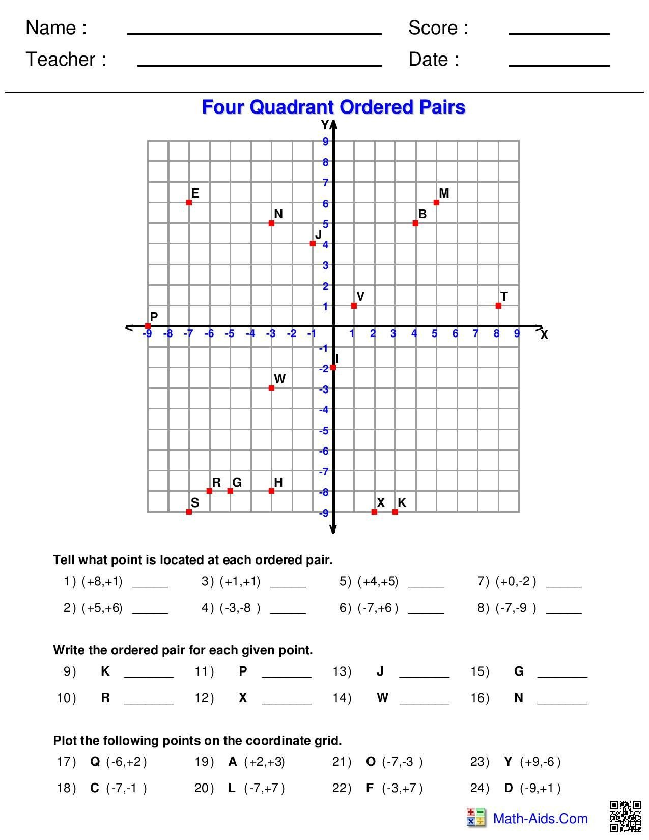 Identifying Functions From Tables Worksheet Four Quadrant ordered Pairs Worksheet