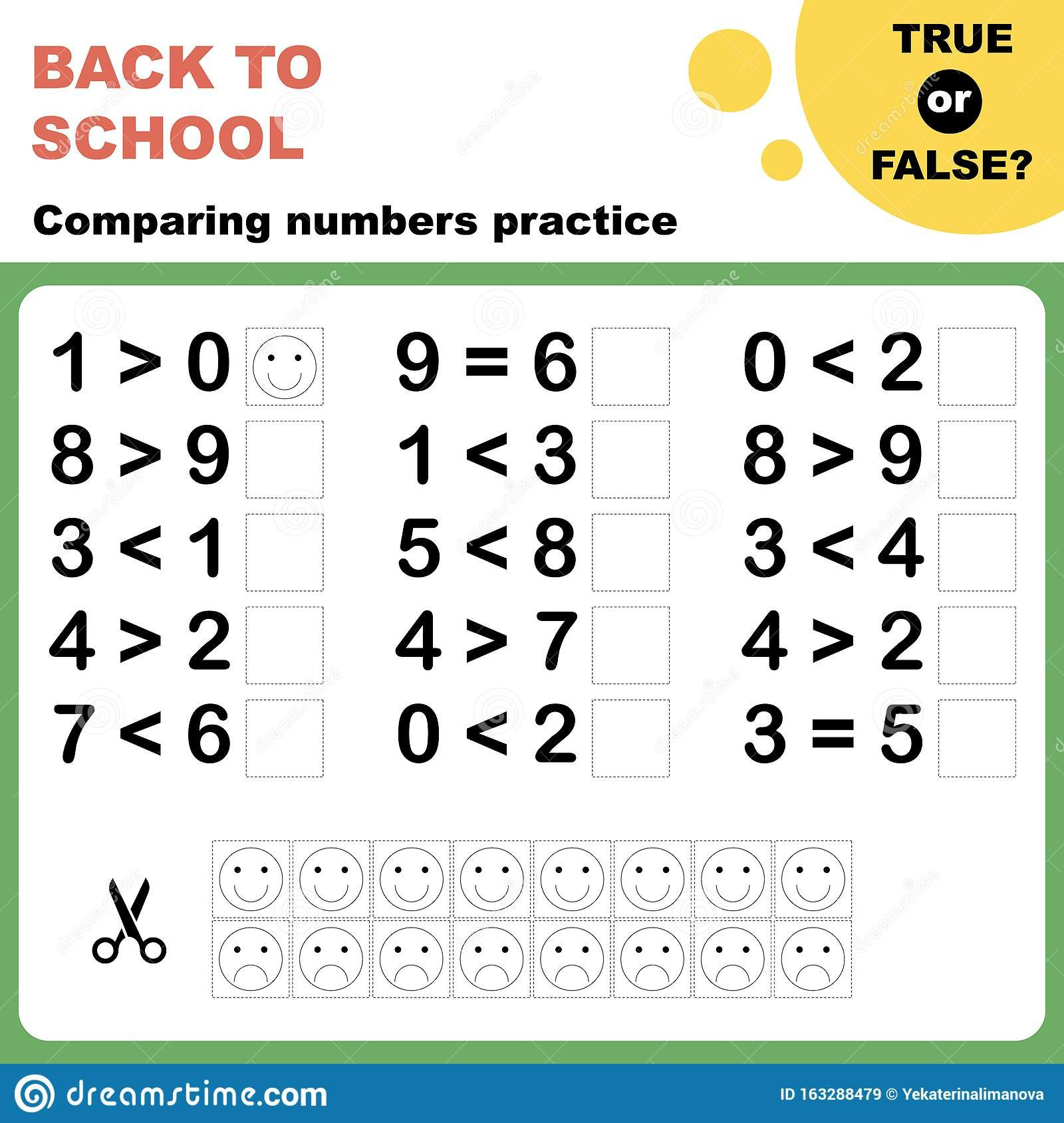 Kindergarten Comparing Numbers Worksheets True False Paring Numbers Worksheet Stock Vector