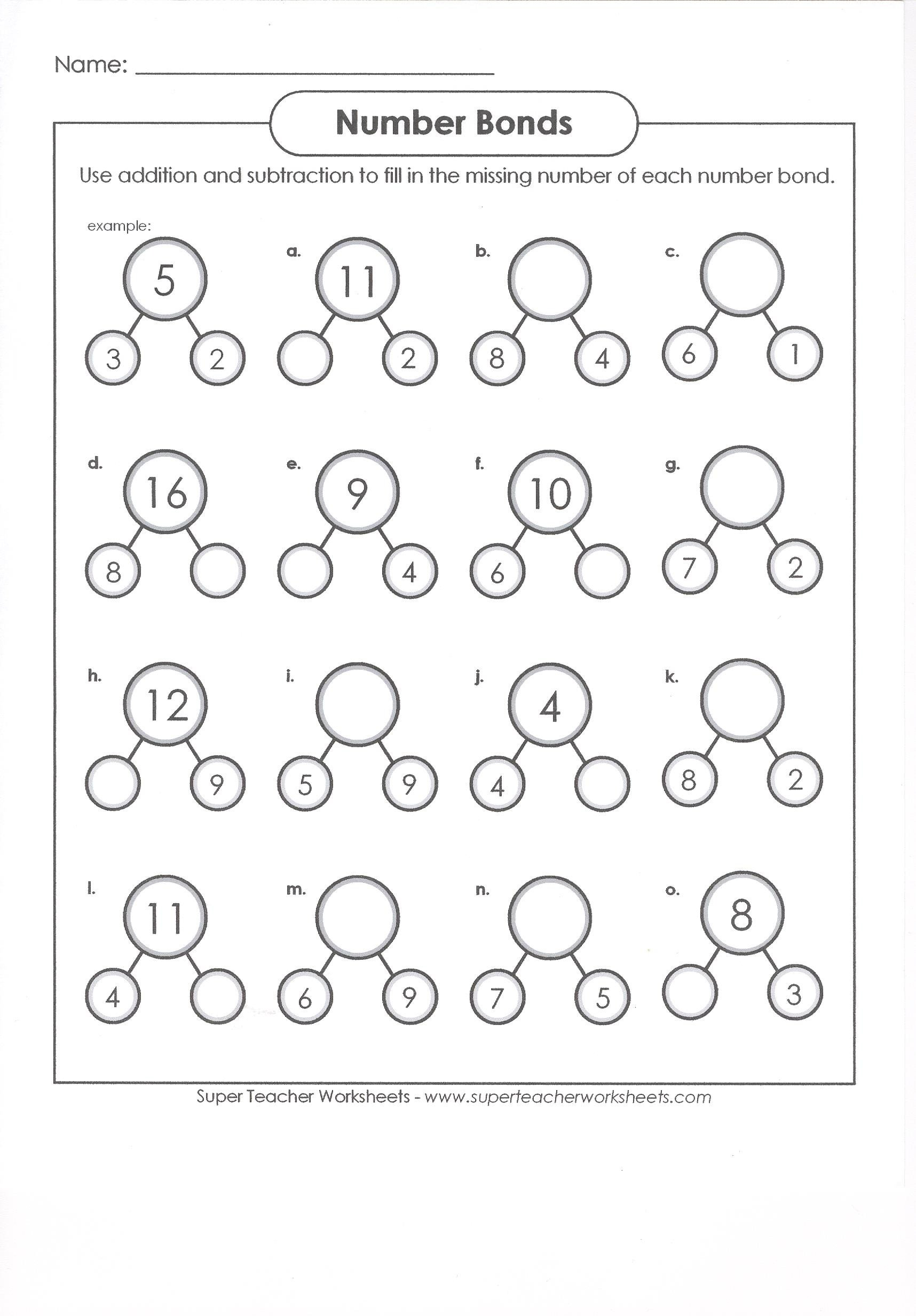 Kindergarten Number Bond Worksheet Bond Number to 20 Worksheet