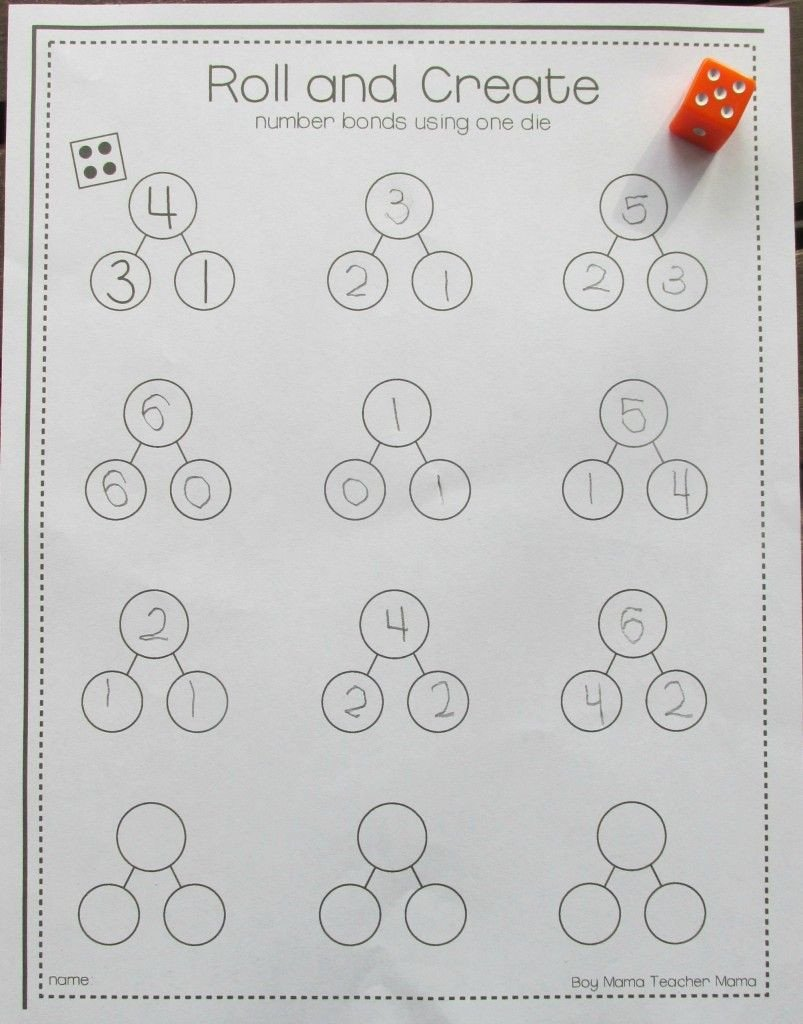 Kindergarten Number Bond Worksheet Teacher Mama Free Roll and Create Number Bonds Printable