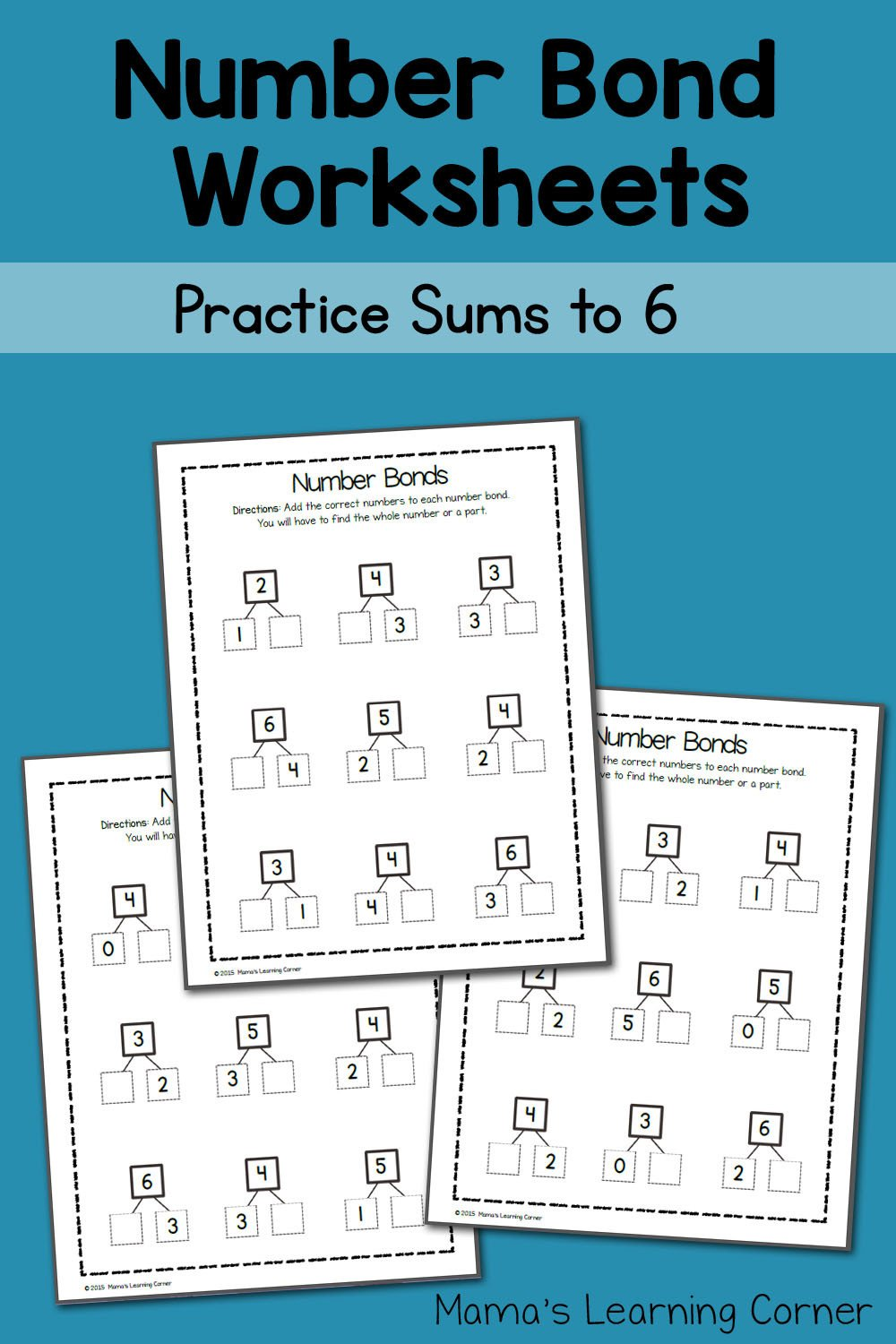 Kindergarten Number Bonds Worksheets Number Bond Worksheets Sums to 6 Mamas Learning Corner