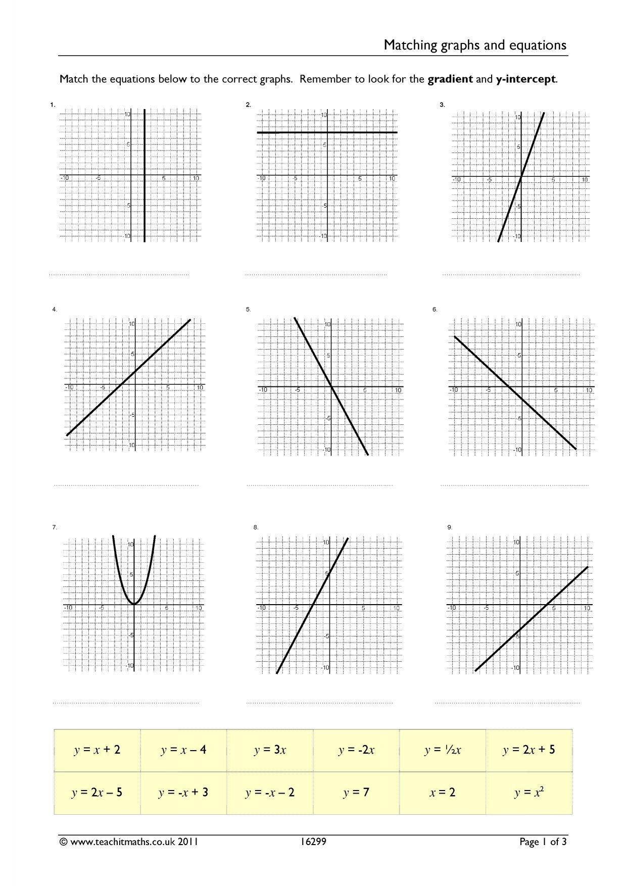Linear Equations From Tables Worksheet Matching Graphs and Linear Equations Differentiated Worksheet