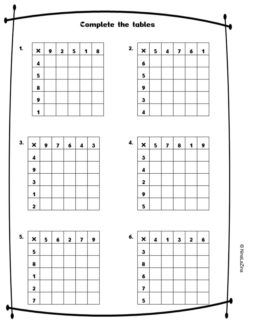 Linear Equations From Tables Worksheet Ninalazina Mixed Times Tables Worksheets Free Upload Pr