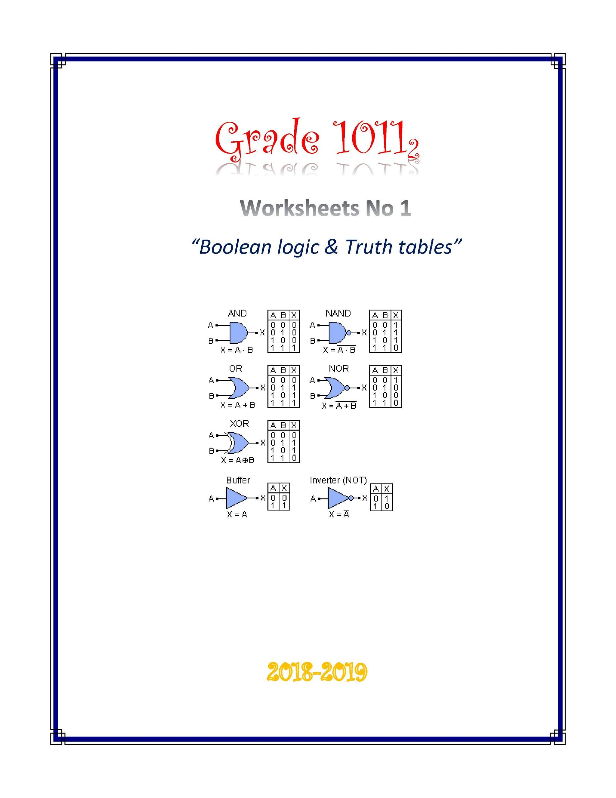 Logic Truth Tables Worksheet Boolean Tables Worksheet