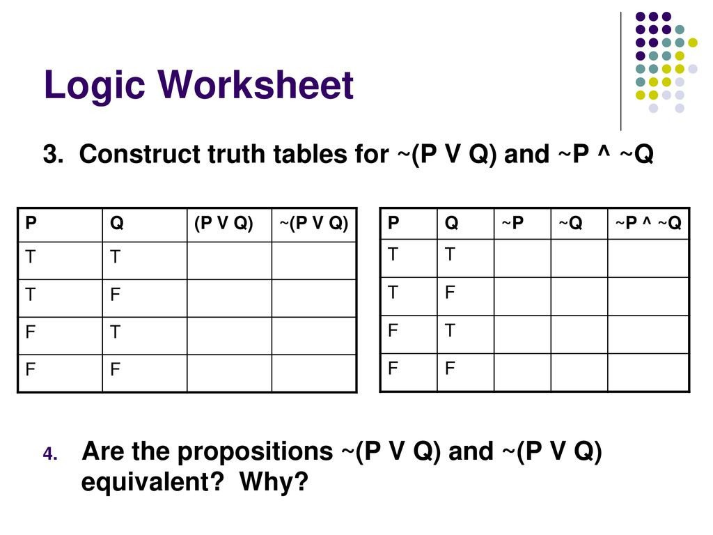 Logic Truth Tables Worksheet the Lost Art Of Argument Ppt