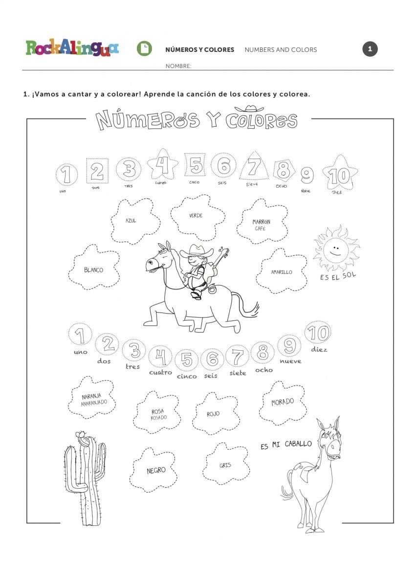 Los Colores En Espanol Worksheet Colors and Numbers