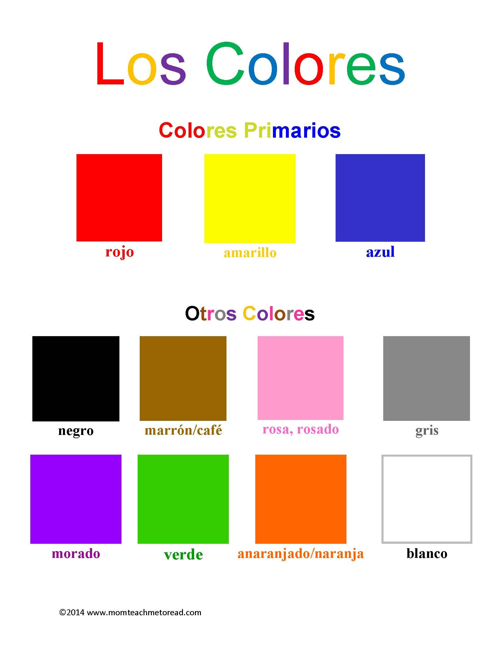 los colores worksheets spanish 2