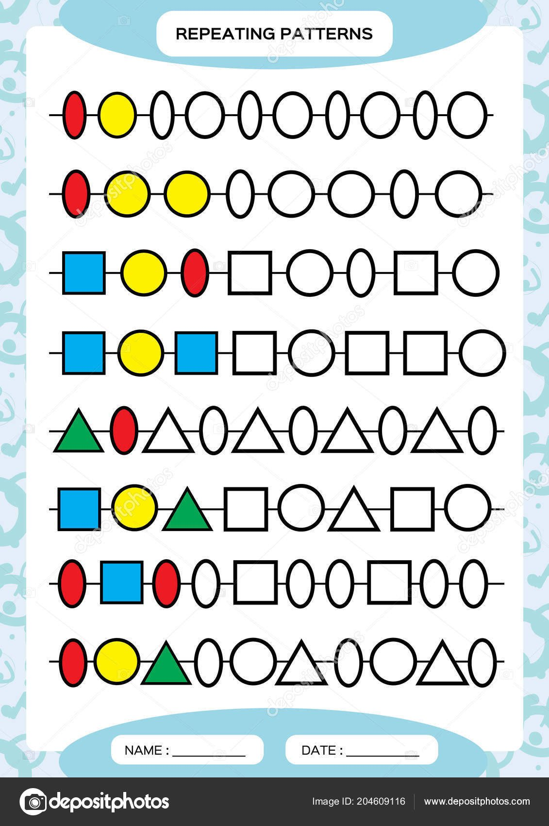depositphotos stock illustration plete repeating patterns worksheet preschool