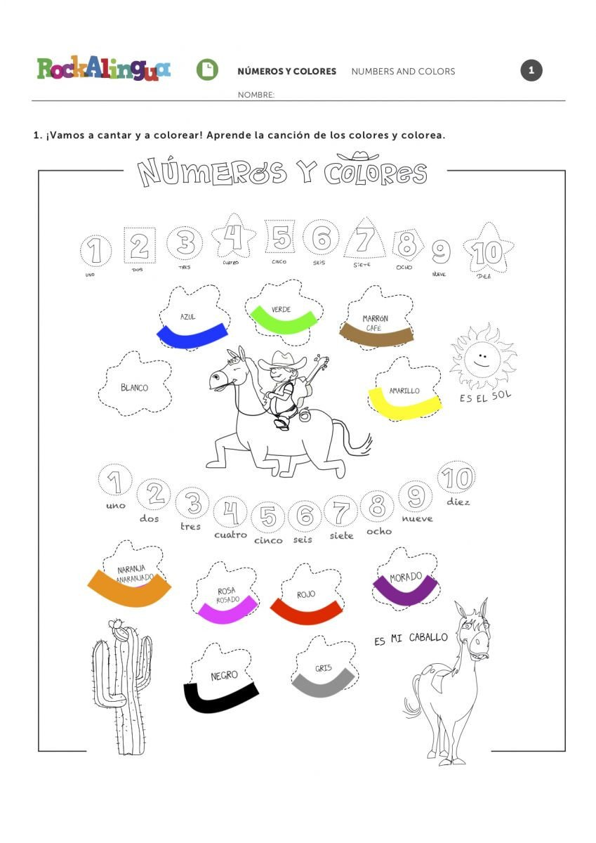 Los Colores En Espanol Worksheet Numbers and Colors song In Spanish for Kids